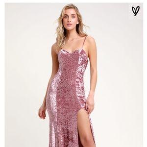 Elegant Blush Pink Sequin Maxi Dress